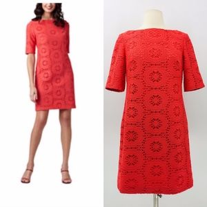 Adrianna Papell Coral Crochet Shift Dress